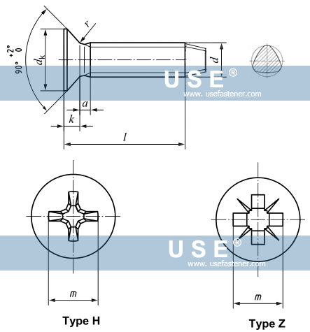 DIN 7500 M - Cross Recessed Countersunk Head Thread Rolling Forming Screws