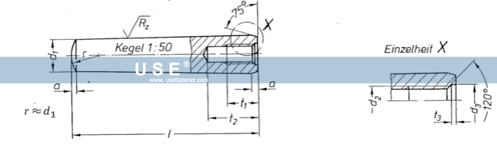 DIN 7978 - Taper Pins With Internal Thread